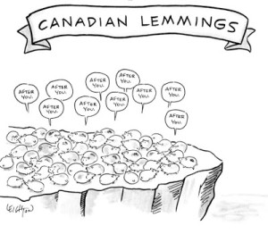 New Yorker Cartoon Canadian Lemmings
